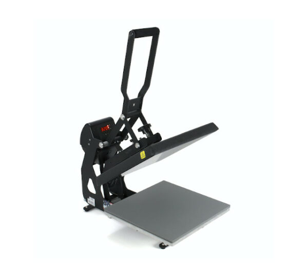 Entry level or backup Stahls heat transfer press with a plate 38cm by 38cm open view